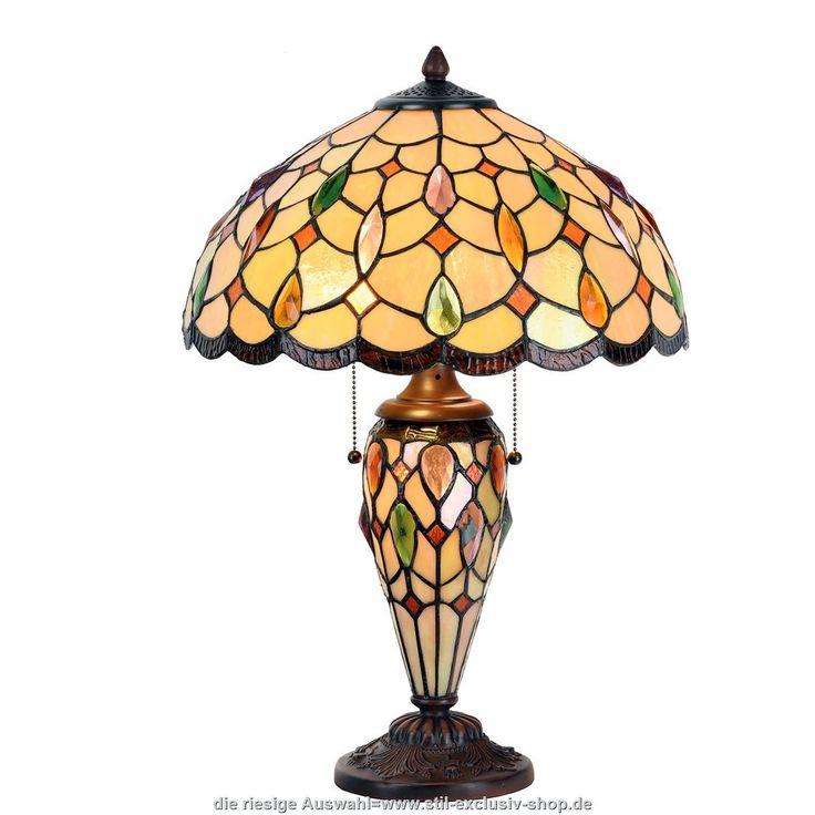 """40ø. Auffallende TIFFANY-Tisch-Lampe SALVADOR.  40*60cm 2x E27/ je 60W.  ...sowohl im Schirm als auch im Fuss sind ausgesuchte Gläser mit aufwändig eingearbeiteten vielfarbigen """"Jewels"""" verarbeitet!"""