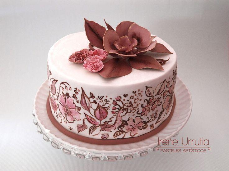 pastel de flores en rosa y caf para d a de las madres