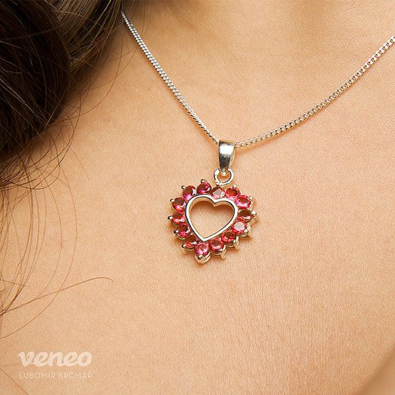 Heart 3017. Silver or Gold Ruby Pendant all sizes by Veneo on Etsy, $51.00