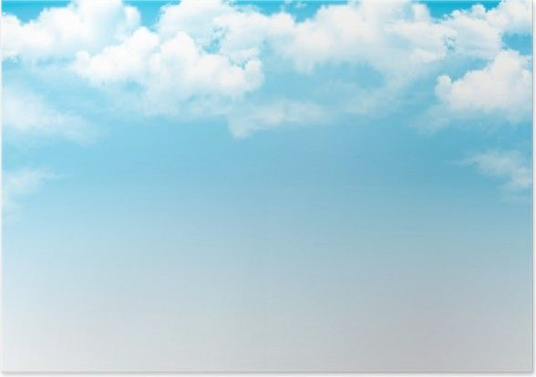 Plakat Błękitne Niebo Z Chmurami Tło Wektor Pixers