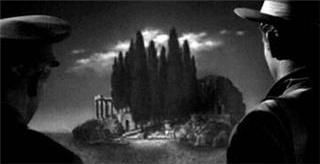 Isle of the Dead (a Val Lewton film)  Karloff seems to be sailing into the Böcklin painting.: Long Shadowsfilm, Böcklin Paintings, Shadowsfilm Noir