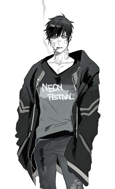 Anime - Boy - black and white - smoking - jacket - messy hair -