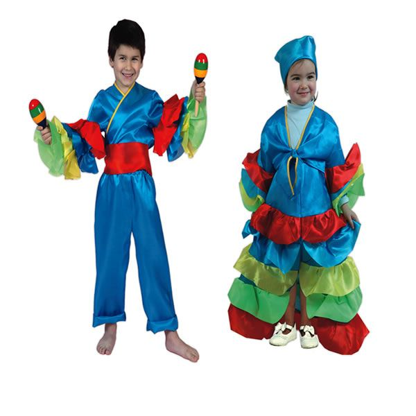 DisfracesMimo, disfraz de rumbera azul para niña 5 a 6 años.Compra tu disfraz barato y una bailarina de samba brasileira con este colorido traje.Y deslumbrar en festivales escolores.