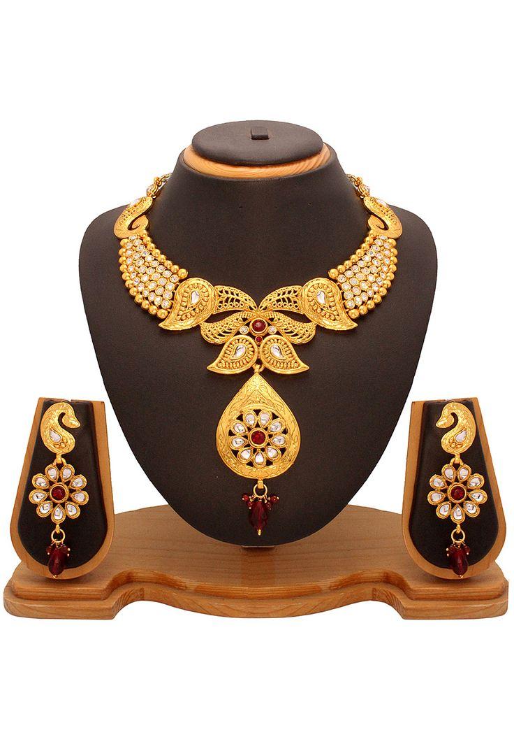 #Maroon and #White Kundan Studded #Necklace Set @ $33.14