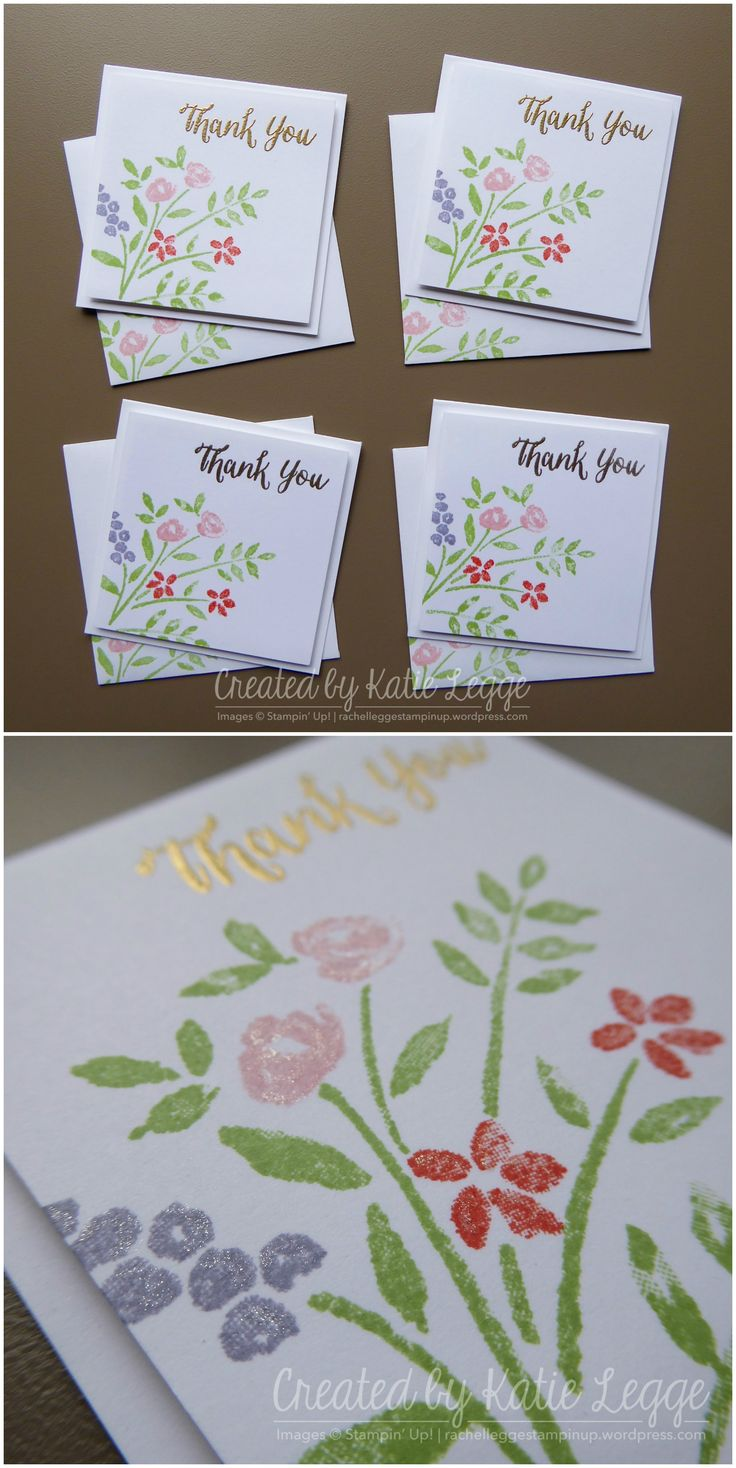 """Stampin' Up! quick and simple 3x3"""" floral Thank You card   Created using the new Number of Years stamp set from the 2016 Occasions catalogue   Created by Katie Legge #2016Occasions #StampinUp #NumberofYears rachelleggestampinup.wordpress.com"""