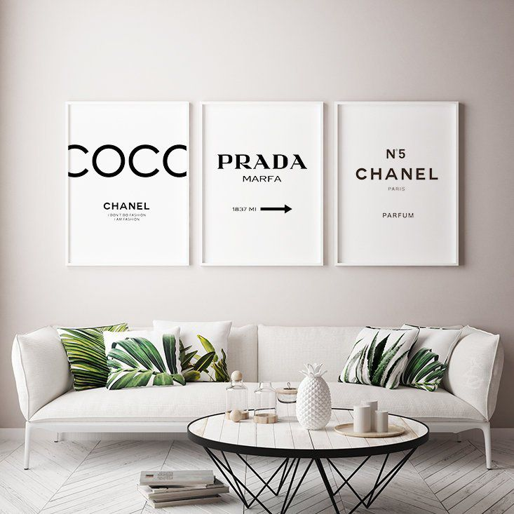 Coco Chanel Inspired Print Set Chanel Home Decor Chanel Chanel Decor Chanel Print Chanel Wall Decor Print Diy Decoratie Kamer Slaapkamerideeen Kamer Decoratie