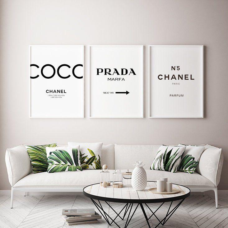 Coco Chanel Inspired Print Set Chanel Home Decor Chanel Chanel Decor Chanel Print Chanel Wall Decor Print Diy Decoratie Kamer Slaapkamerideeen Kamer Decoratie