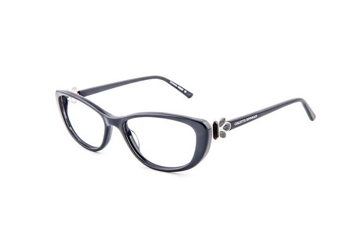 Romance - 25634129. Two pairs from only $439, including standard single vision PENTAX lenses.    This frame is a real eye catcher with its soft cats eye shape in dusty blue and gorgeous floral detailing on the sides. The embellishment is inspired by a 20's style buckle - one of Collette's vintage finds in a little market in Paris. An ageless style, aimed at wearers looking for a sophisticated, feminine look. Suitable for the angular, oval or larger face shapes – and a great match for…