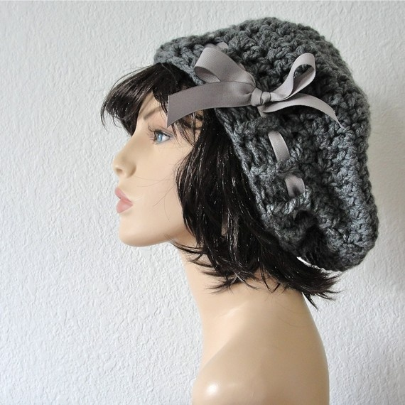 e5876d0ac5f Items similar to Crochet Grey Beret Slouchy Hat with Grey Grosgrain Ribbon.  Original design by kanokwalee. on Etsy