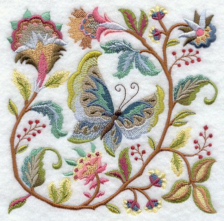 Jacobean Butterfly and Flower Square 1