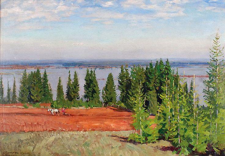 Stanisław ŻUKOWSKI (1873-1944)  Wiosenny rozlew rzeki - Wiatka, 1920 olej, płótno; 64,5 x 91 cm;