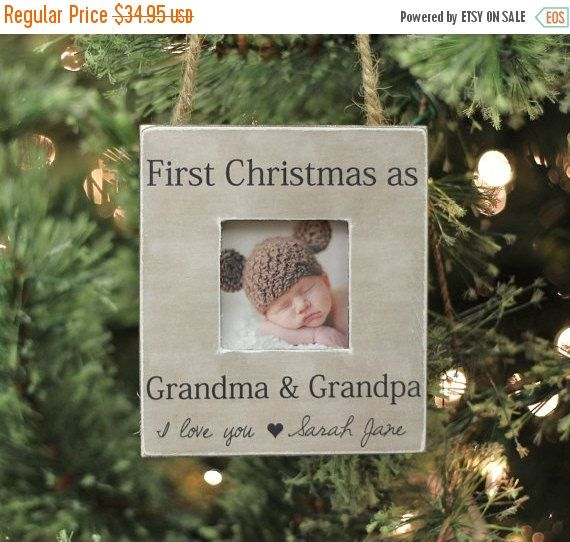 Grandparents Ornament Christmas GIFT Personalized Photo Ornament Gift First Christmas as Grandma and Grandpa New Baby  Thank you for taking the time to view our personalized picture frames for your special occasion! This ornament measures approx. 4.5 x 4.5 square on the outer dimensions, with an approx. 2 square photo opening. Each ornament is hand made, with a personalized finish that is professionally printed and mounted, then the edges are aged with a deep brown color and slightly…