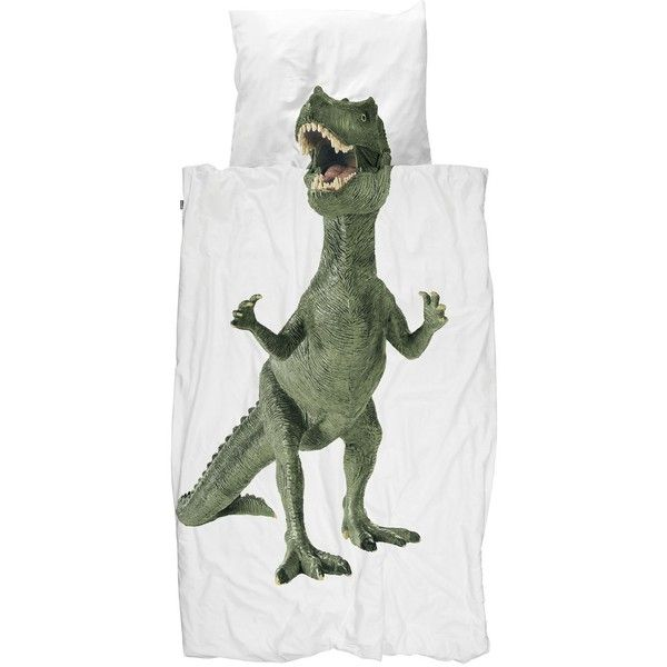 Snurk Home Dinosaurus Rex Cotton Duvet Cover Set featuring polyvore, home, bed & bath, bedding, duvet covers, cotton duvet cover set, cotton pillowcases, cotton bedding, cotton duvet sets and cotton bed linen