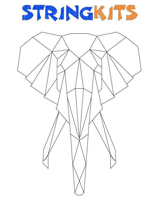 Elephant String Art Template von StringKits auf                                                                                                                                                                                 Mehr