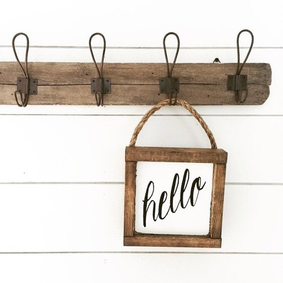 Hello sign wooden sign hanging sign by backroadsigncompany on Etsy