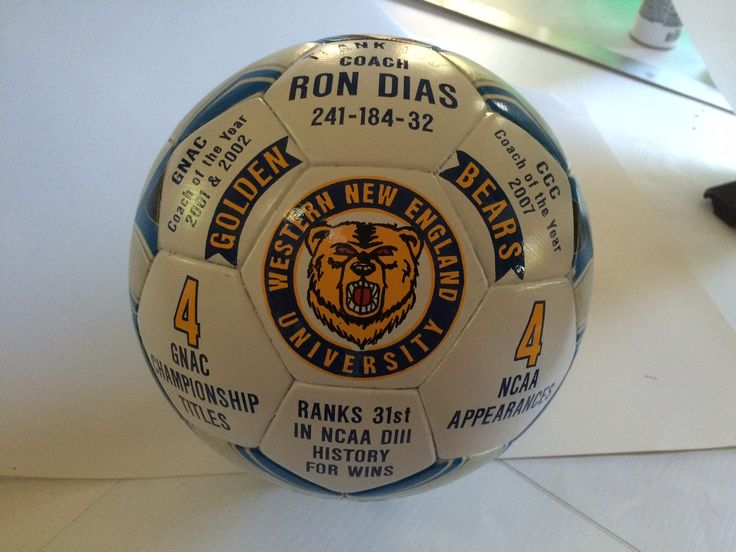 Western New England University Soccer Coach career ball. Custom designed and hand painted soccer ball by Socha Signs and Custom Sports Gifts.