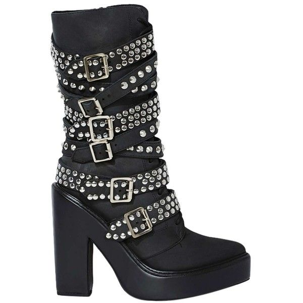 Pre-owned Jeffrey Campbell Ruckus Studded Spike Chunky Platform Heel... (425 AUD) ❤ liked on Polyvore featuring shoes, black, chunky platform shoes, kohl shoes, strap shoes, leather shoes and leather platform shoes