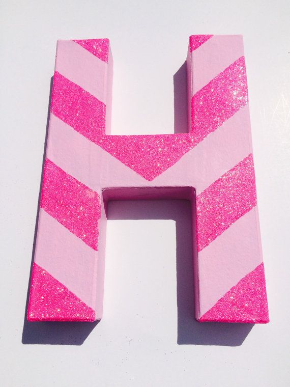 Pink glitter chevron painted letters name letters by pollyPOPdecor