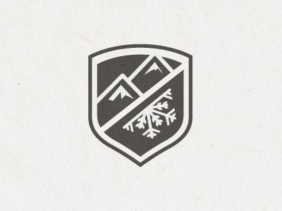 Logo design / badge #mountain #snowflake #shield