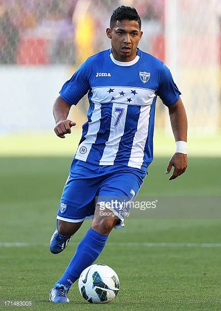 Emilio Izaguirre of Honduras brings the ball down field during a game against the United States during the first half of an World Cup Qualifying...
