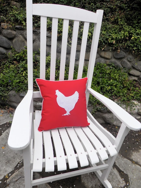 Chicken Silhouette Pillow--a cheap and easy way to spruce up a rocking chair