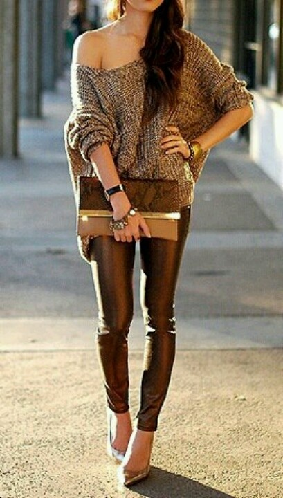 Cute for fall. Off the shoulder over sized sweater, metallic pants, and clutch