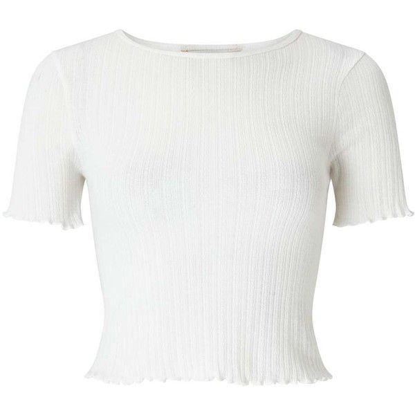 Miss Selfridge White Short Sleeve Lettuce T-Shirt ($20) ❤ liked on Polyvore featuring tops, t-shirts, white, white short sleeve top, short sleeve tops, white ribbed t shirt, ribbed top and cotton t shirts