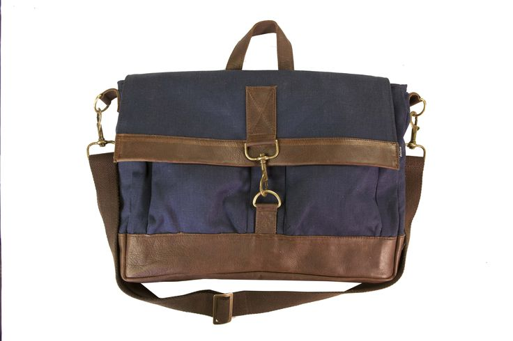 The new Overland Satchel. Navy&Choc. Perfect daily work bag. Leather trims and Hemp canvas. #daily #work #bag