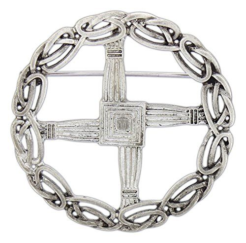 "Quantum 2"" Pewter St. Bridget's Cross Pin/Pendant:   This stunning polished pewter pin/pendant is a versatile piece for scarves, sashes, jackets, suits or a favorite necklace. St. Bridget's crosses, also known as St. Brigid's crosses, are associated with Brigid of Kildare who is venerated as one of the patron saints of Ireland. The celtic eternity knot work around the piece adds all the more! The pin is plenty open for fabric to show through. Hang the pin from the loop on the back to u..."
