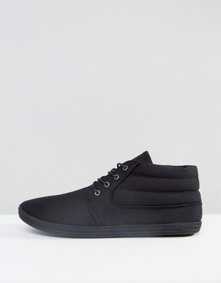 ASOS Chukka Boots In Black Canvas - Black