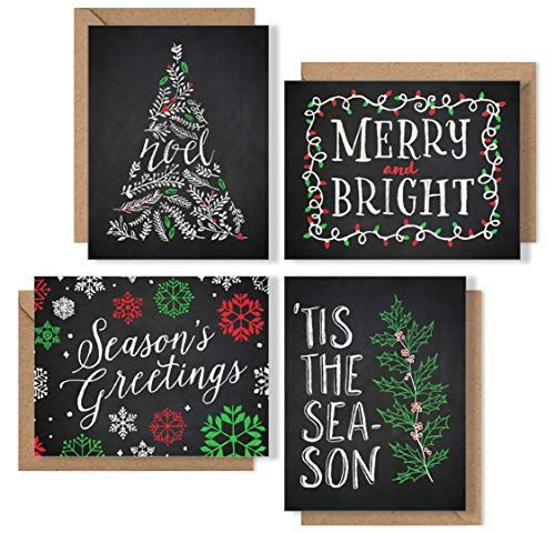 Christmas Cards Boxed Set Chalk Art Holiday Card Pack (Premium