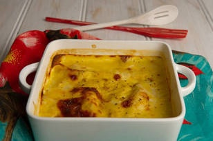 Easy Chicken Casserole  Ingredients  6 chicken breasts fillets  6 slices Jarlsberg cheese  1 can (420g) condensed cream of chicken soup  1⁄4 cup (60ml) milk  Method    Preheat the oven to 160°C. Place the chicken in a 22cm (9-inch) casserole dish and cover with the cheese.    In a small bowl, mix together the soup and milk.    Pour the mixture over the casserole and bake for 1 hour or until the top is golden brown.