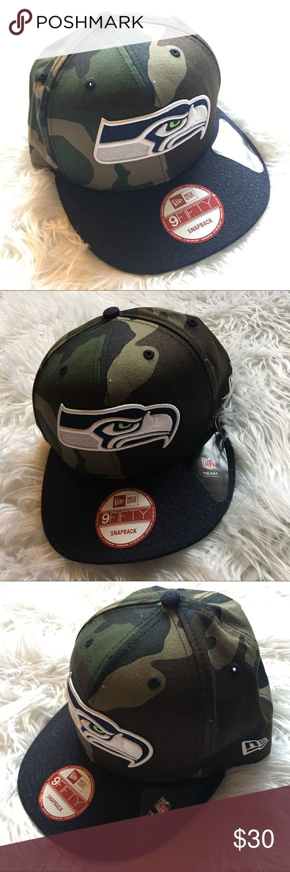 New Era Seattle Seahawks Camo Denim Bill Snapback This hat has it all! From the camo covering to the denim bill, you will stun in this. Team is Seattle Seahawks, winners of the 2014 Super Bowl! Men's hat. Hat is NWOT. Please offer or ask any questions! New Era Accessories Hats