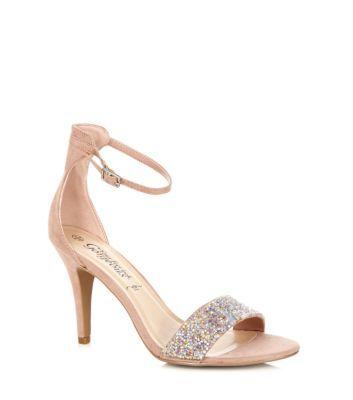 Nude Embellished Ankle Strap Heels