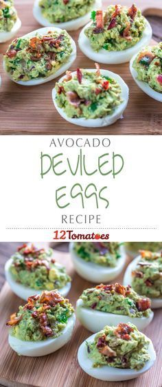 Avocado Deviled Eggs | We love the traditional version, but the rich saltiness of the bacon, creaminess of the avocado and spiciness of the jalapeño peppers combine to create a dish thats even better than the original!