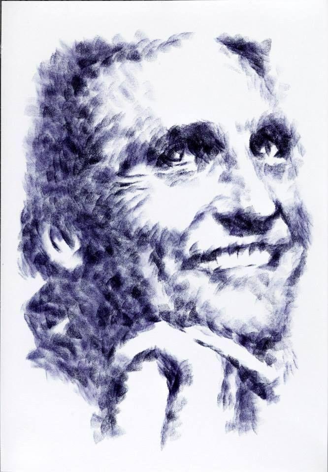 Titolo: Matthew McConaughey Tecnica: tampone con feltrino (scippato alla gamba anteriore destra della sedia in camera) Tempo d'esecuzione: 9 minuti #portrait #art #MatthewMcConaughey
