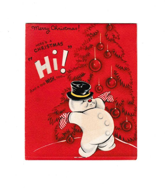 Christmas Card Vintage Snowman in Hat An American by AtomicPutz