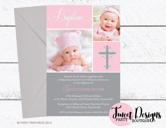 BAPTISM invitation, Girl CHRISTENING Invitation, Pink Baptism Photo Invitation, Girl Naming Day Invitation, Girl Photo Baptism Invitations