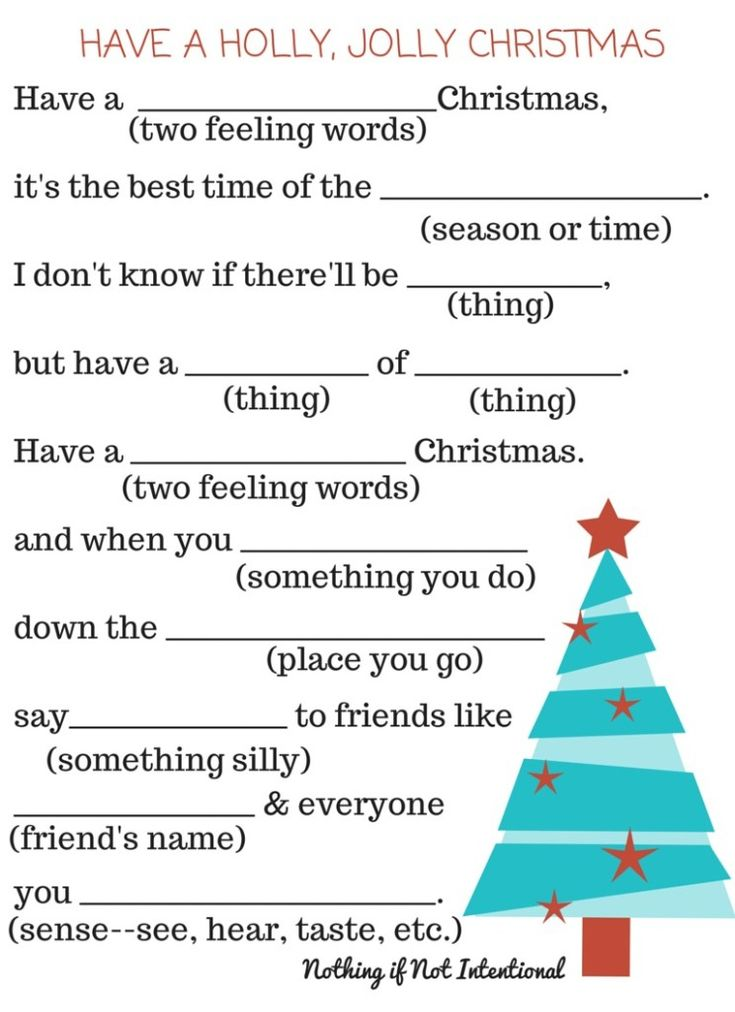 Free Christmas Printables: Christmas MadLibs: See Blogger ~: Nothing if not Intentional