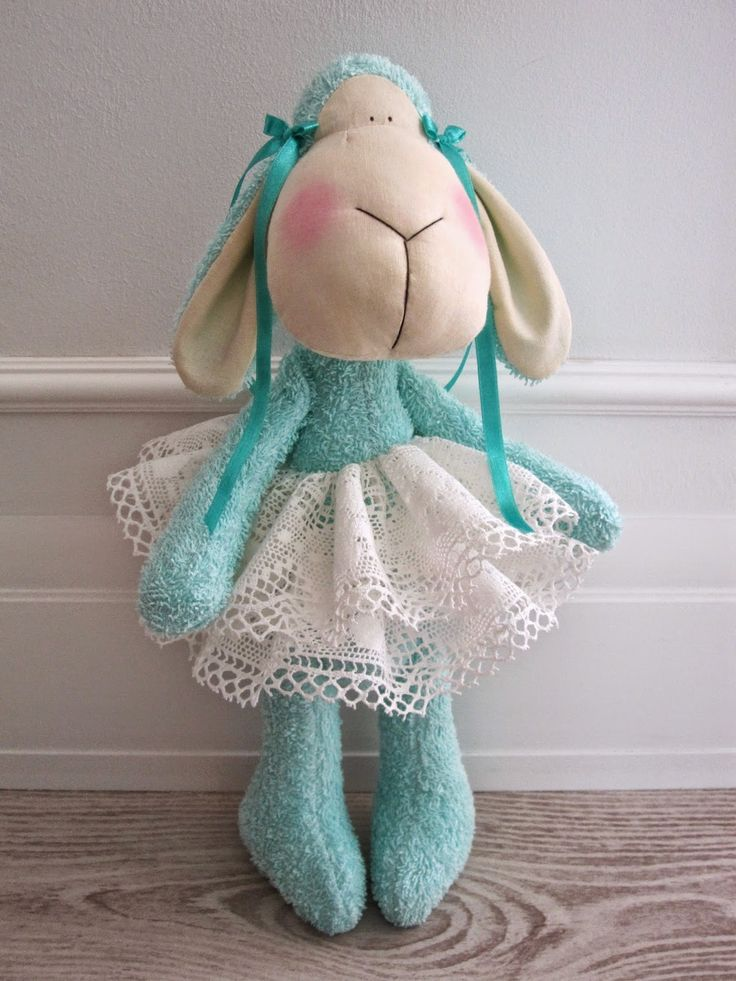 Tilda sheep turquoise acqua teal Easter handmade toy vintage lace owieczka owca 'created by BB'