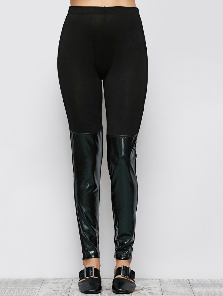 Tight Fit PU Leather Panel Leggings #jewelry, #women, #men, #hats, #watches, #belts