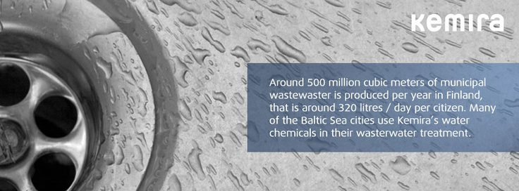 round 500 million cubic meters of municipal wastewaster is produced per year in Finland, that is around 320 litres / day per citizen. Many of the Baltic Sea cities use Kemira's water   chemicals in their wasterwater treatment.