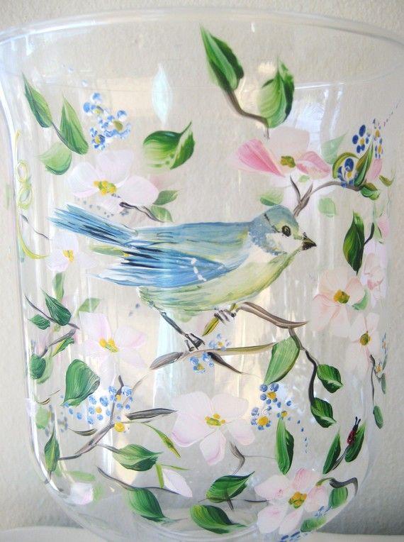 Main peint verre ouragan avec fleurs de par TivoliGardens sur Etsy