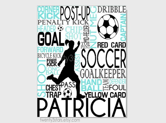 Soccer Typography Print, 8x10 Art, Perfect Sporty Girls Room Art, You Choose the Colors, Makes a Great Gift for any Soccer Lover.