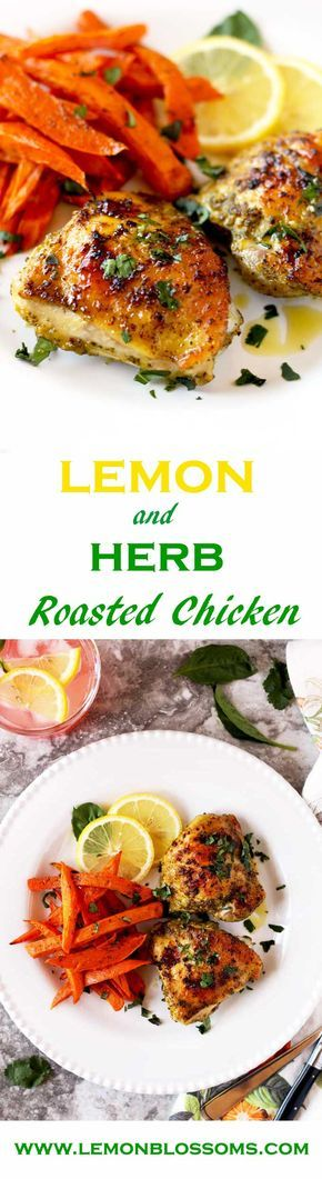 These golden, moist and tender lemon and herb roasted chicken thighs are packed with so much flavor. The vibrant taste of lemon and the freshness of the herbs make this dish out of this world delicious! via @https://www.pinterest.com/lmnblossoms/