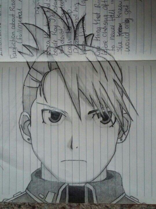 Drawing of Riza Hawkeye from Fullmetal Alchemist