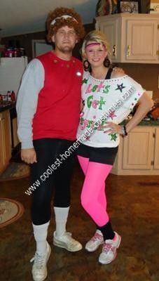 DIY Richard Simmons and Olivia Newton John Couple Halloween Costumes: Adam is Richard Simmons. We bought a brown curly wig and put a sport band in his hair. He had a red tank top and I put sparkle and diamonds on it. He wore