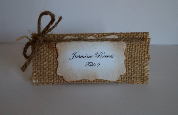 Burlap and Twine Place cards  Escort Cards  by Marrymevintageirish, $20.00