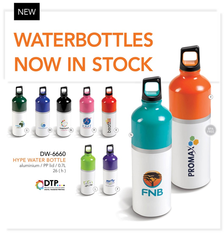We'd like to introduce our beautiful new Hype Water Bottle.  The bottle has been designed to have a white bottom so that our customer can choose to brand a full colour logo. This image shows just how well these bottles lend themselves to this type of branding.  We have plenty of stock now on hand in 9 colours options.  For more information about this product or to get involved in our School's Fundraising Project please contact pact@live.co.za or via the inbox of this page: pact - Brand…