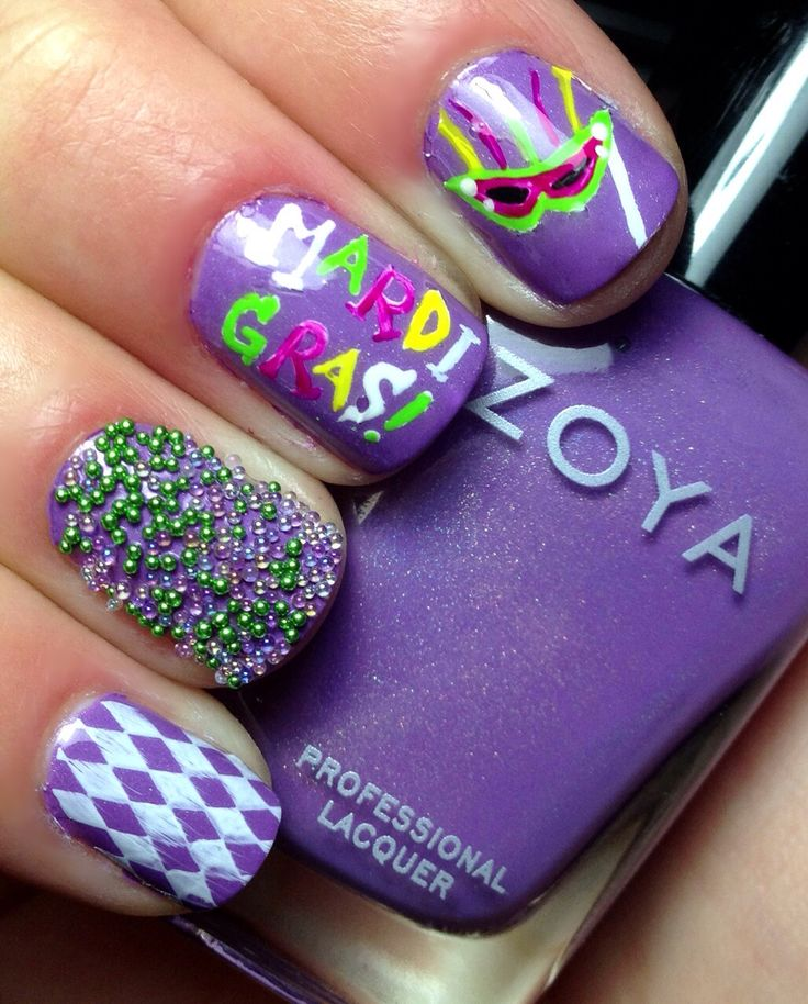 Design on pinky done wi th Cheeky 's plate and white Konad special polish. Mardi  Gras and mask designs. - 29 Best Mardi Gras Nail Designs Images On Pinterest Holiday